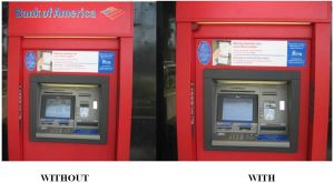 ATM with and without a skimmer attached.