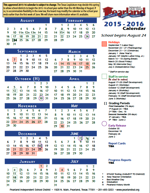 Pisd 2022 Calendar.Pisd Official 2015 16 Calendar Now Available The Grapevine Source