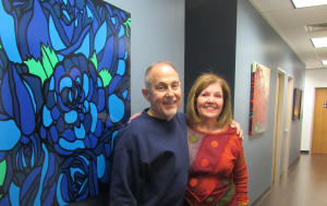 Sam Ferreri, President of Re/Max Top Realty and Sally Stubbs, Pearland Arts League Chairman of ART to the MAX.