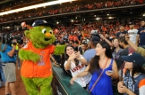 Orbit has fun with some fans (Photo: Chris Daigle)