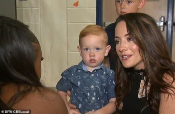 Tyra got to meet the little boy's mom, Nicole Hornback, right, and Clarke to say 'thank you' (DFW-CBS Local)